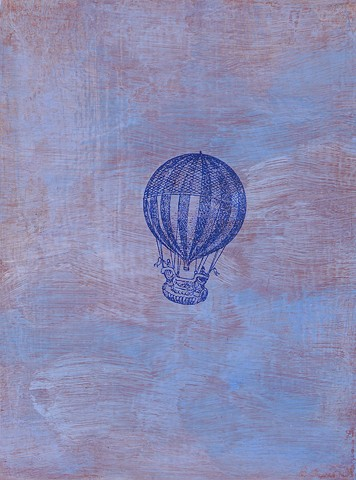 Striped Balloon in Clouds small original affordable fine art painting wall decor Irene Stapleford vintage imagery