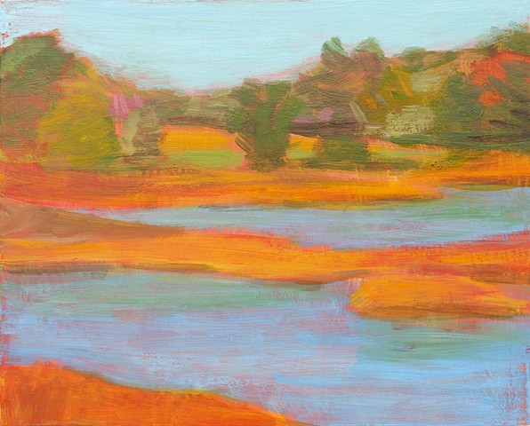 Autumn Splendor bright fall pond landscape plein air contemporary abstract study