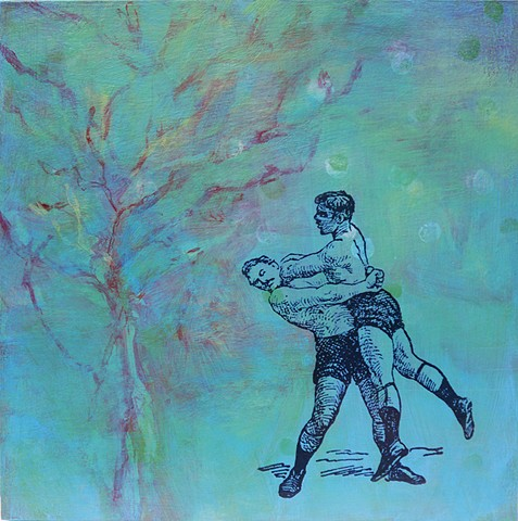 medium abstract painting relationships wrestlers teal plant form original Irene Stapleford art