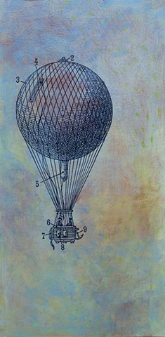 original fine art painting balloon Belated Conversation whimsy humor vintage