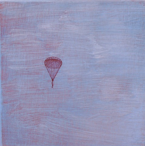 Red Parachute small original fine art painting affordable wall decor surreal Irene Stapleford vintage imagery