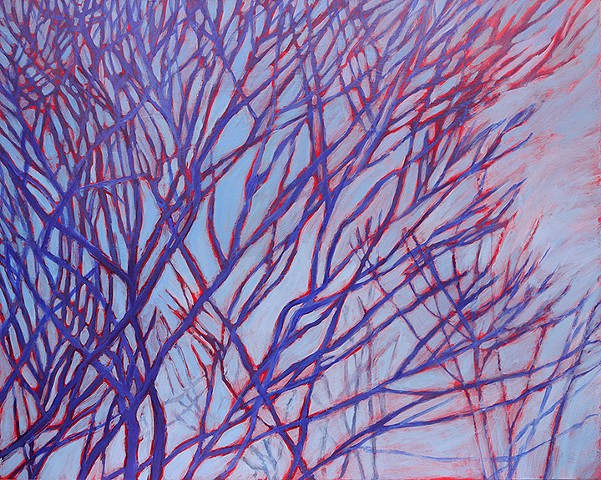 red blue branches vascular veins abstract sky acrylic original art wall decor
