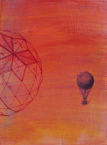 Sunset Balloon original small affordable fine art painting red sky vintage image Irene Stapleford
