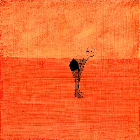 Orange Boy, Floating original small fine art painting orange swimmer Irene Stapleford gay decor