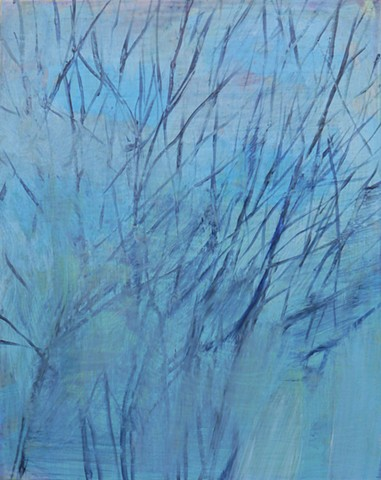 Winter Branches, Spots of Blue Sky small affordable winter branches landscape study