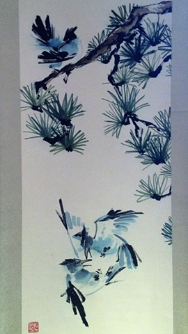 Chinese painting brush painting birds flowers