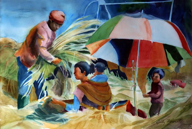 realistic watercolor figure painting of foreign culture, farm life