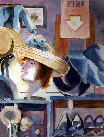 muted colors, warm glow on this antique shop painting of life-like manikin, hats, shoes
