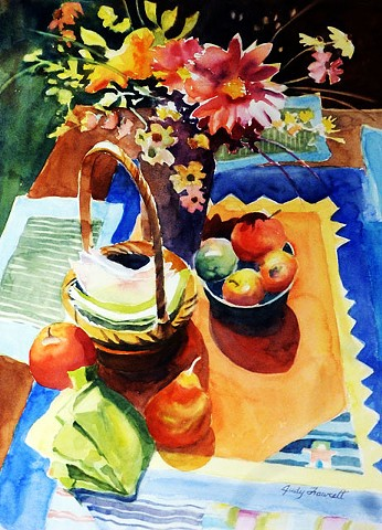 award winner, colorful, bold watercolor still life with strong light and shadow with table bouquet, fruit,