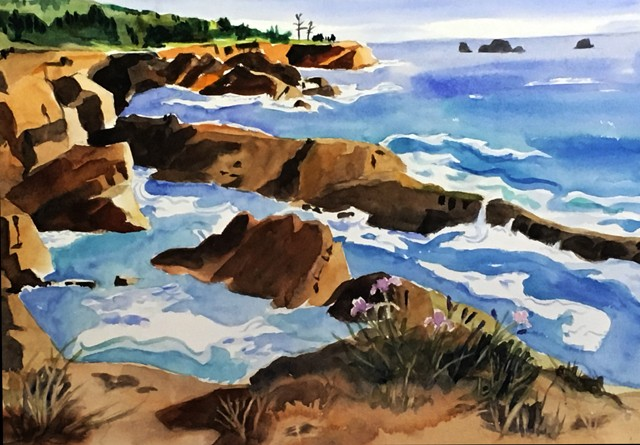 Arial view of surf & ocean on Oregon coast, rugged cliffs, waves, surf and distant shores.