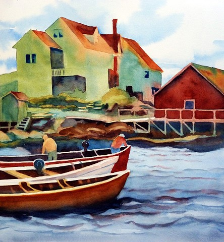 Fishermen starting out of mooring in Peggy's Cove, waterfront homes in background.