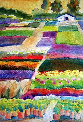 Colorful, patchwork of fields of flowers and plants with distant trees and sun glow