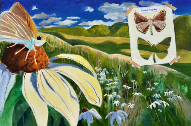 realistic style acrylic painting of an imagined landscape with and image of this butterfly species