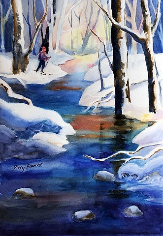 bold, colorful winter scene, shadowed snow, strong reflections, difuse lighting