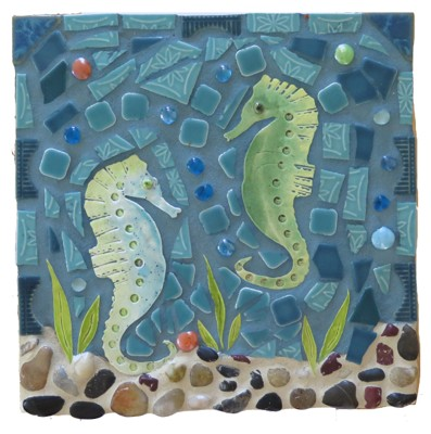 Mosaic Table: Sea Horses Playing