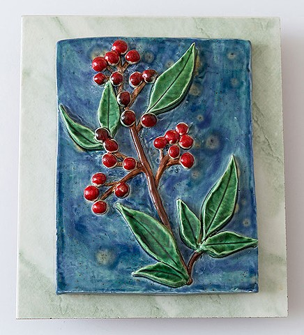 Wall Hanging: Ceramic glazed flower on commercial tile