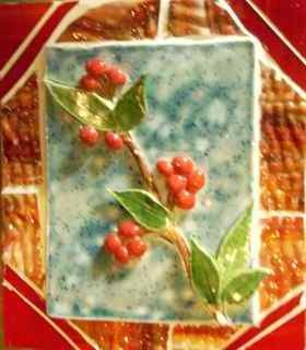 Red Holly Stained Glass Mosaic
