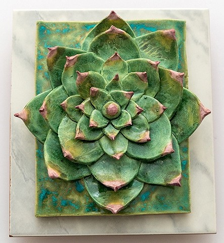 Wall Hanging: Ceramic glazed plant on commercial tile
