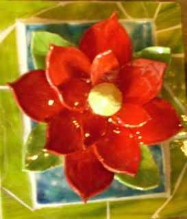 Red Lotus on Green Stained Glass Mosaic