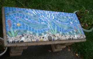 Mom and Baby Whales Mosaic Bench