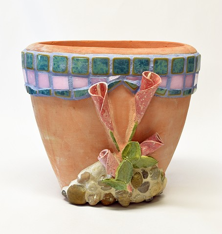 Planter with ceramic flowers, tiles & pebble mosaics