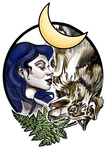 Wolf and woman with moon and fern in neotraditional illustrative style.