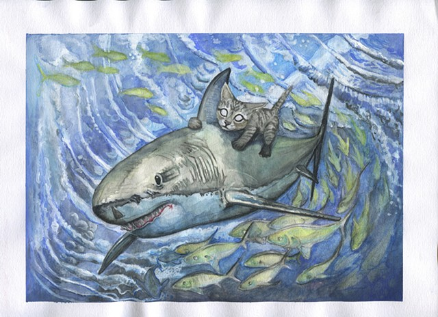 Illustration of a kitten riding a shark underwater