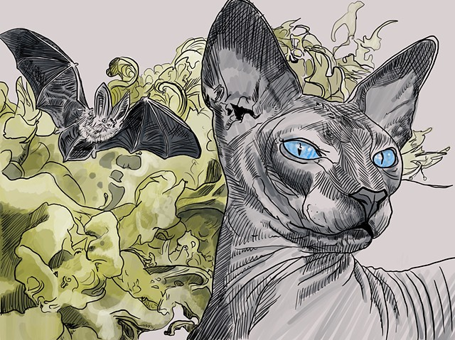 Digital sketch: cats, bats, smoke