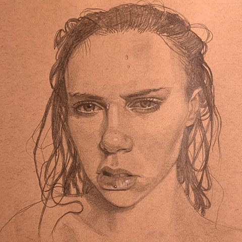 Girl with wet hair from the shower drawn in pencil, a study sketch