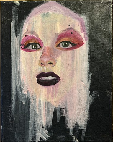 Abstracted portrait in acrylic paint on canvas