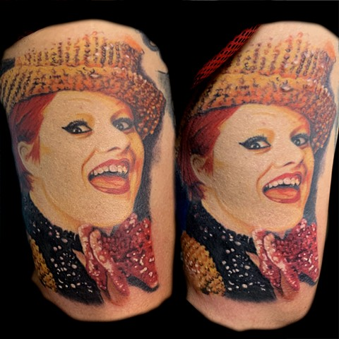 Tattoo of Colombia from the Rocky Horror Picture Show.