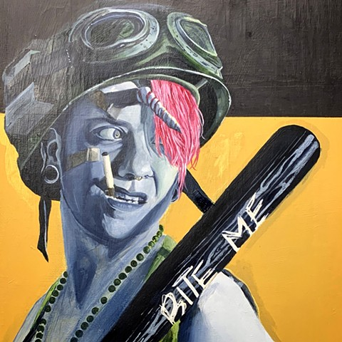 UNICORN TANK GIRL painting of a girl with cigarette in mouth and baseball bat