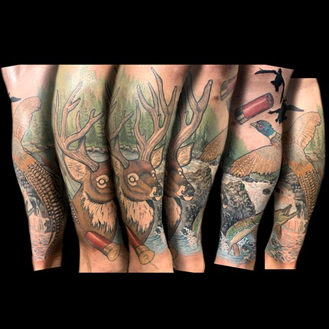Half Leg Sleeve of a neotraditional tattoo style design including a deer, duck, pike fish, waterfall and stream, a pheasant, and shotgun shells.
