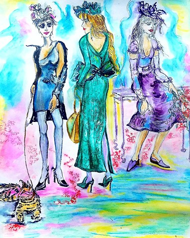 Illustration colorful day for a fashion walk
