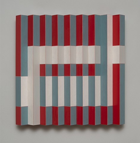 blue red abstract colorful playful relief grid woodworking wood sculpture by artist Emi Ozawa