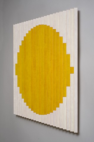 Sun colorful abstract painted wood sculpture by artist Emi Ozawa