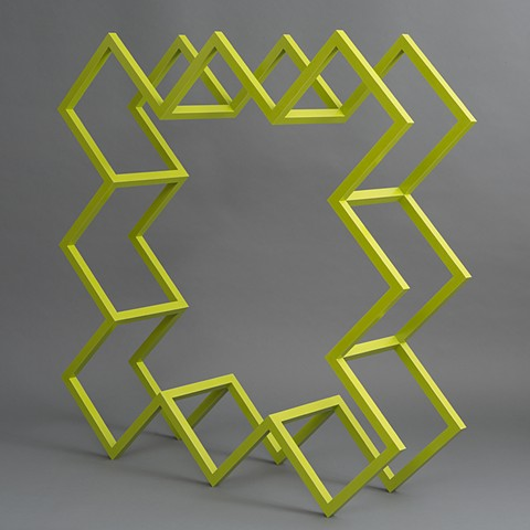 yellow green  abstract colorful playful wood sculpture by artist Emi Ozawa