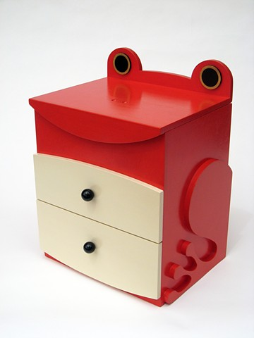 red tomato frog abstract animal woodworking colorful playful kinetic wood sculpture by artist Emi Ozawa