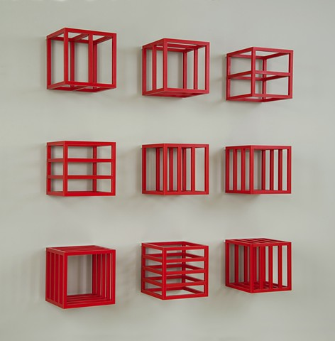 red grid cube abstract colorful playful wood sculpture by artist Emi Ozawa