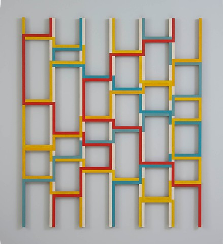 abstract colorful playful wood sculpture by artist Emi Ozawa