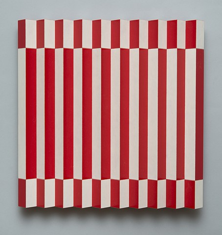 red white stripes interactive abstract colorful playful relief grid woodworking wood sculpture by artist Emi Ozawa