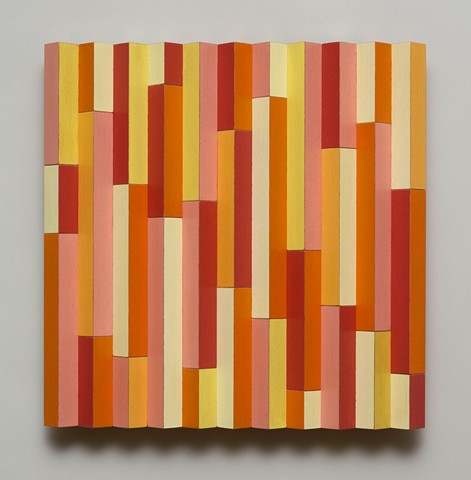 orange abstract colorful playful relief woodworking wood sculpture by artist Emi Ozawa