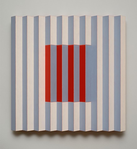 red blue stripes interactive abstract grid woodworking colorful playful relief wood sculpture by artist Emi Ozawa