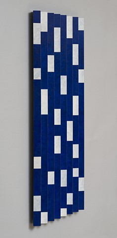blue abstract colorful playful relief woodworking wood sculpture by artist Emi Ozawa