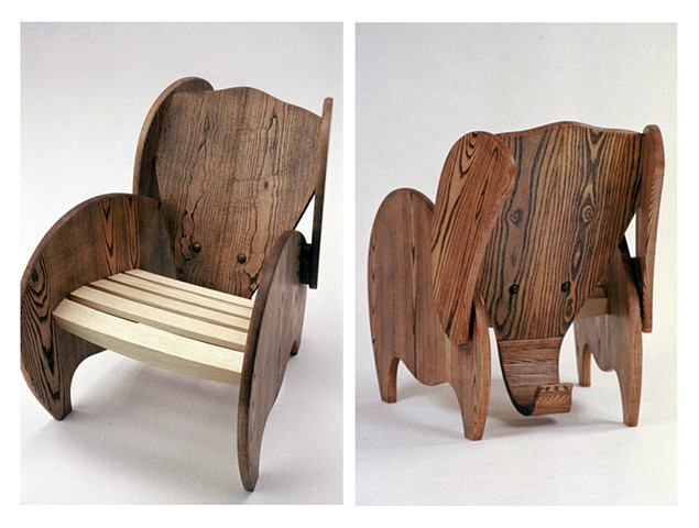 elephant chair abstract animal woodworking furniture colorful playful wood sculpture by artist Emi Ozawa