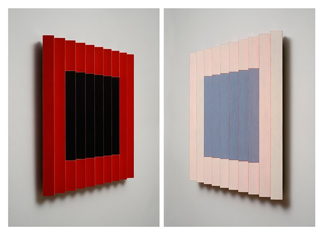 red stripes interactive abstract grid woodworking colorful playful relief wood sculpture by artist Emi Ozawa