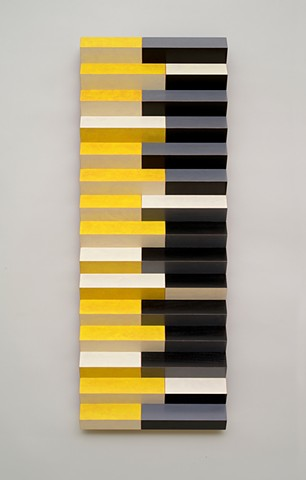 yellow black stripes abstract grid woodworking colorful playful relief wood sculpture by artist Emi Ozawa