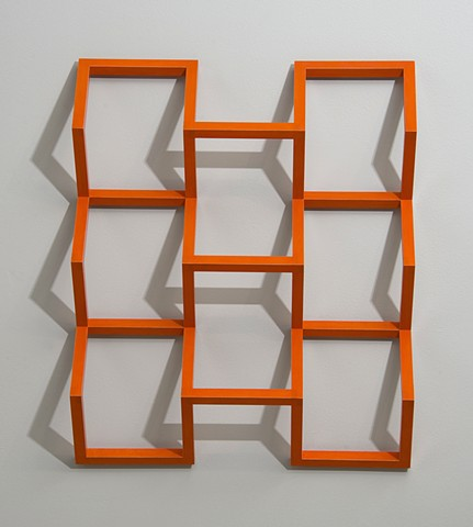 orange grid abstract colorful playful wood sculpture by artist Emi Ozawa