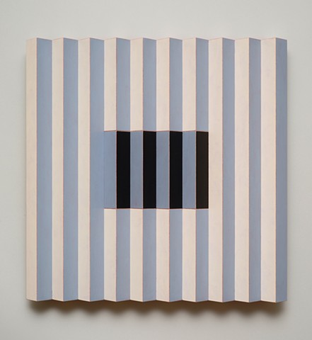 black blue stripes interactive abstract grid woodworking colorful playful relief wood sculpture by artist Emi Ozawa