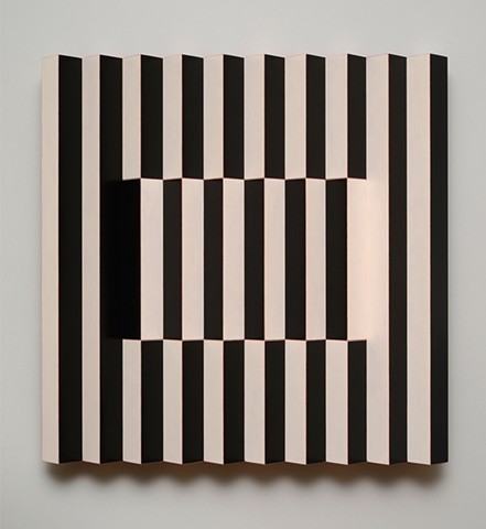 black white stripes interactive abstract grid woodworking colorful playful relief wood sculpture by artist Emi Ozawa